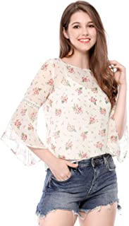 Allegra K 女式 3/4 钟形袖花卉印花雪纺衬衫 带卡米色