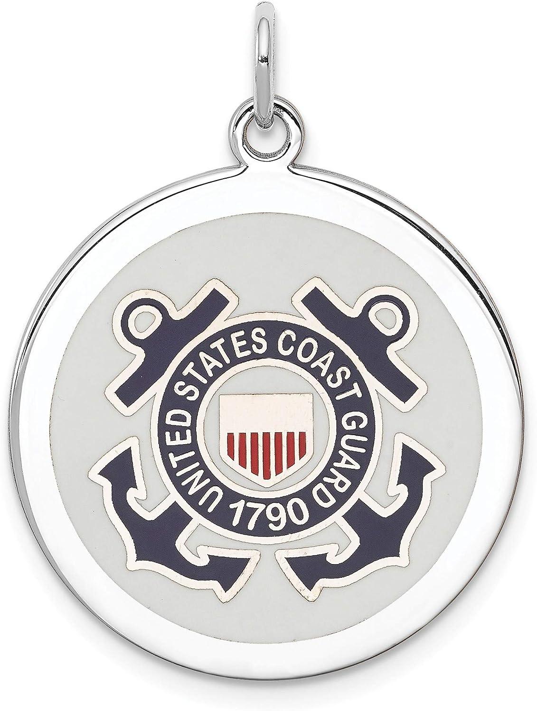 Bonyak Jewelry Sterling Silver RhodiumPlated US Coast Guard Disc