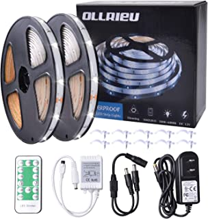 ollrieu 32.8ft LED Strip Lights,Dimmable,Waterproof,Daylight White,12V Tape Light,Connectable,Cuttable,300 Units 2835 SMD with UL Listed Power Plug RF Remote,Flexible LED Ribbon,Under Cabinet Lighting