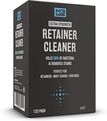 M3 Naturals Retainer and Denture Cleaner 120 Tablets Removes Bacteria Bad Odors Discoloration Stains Plaque for Clean...
