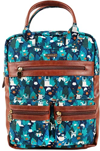 Garden Tea Party Teal Canvas Backpack for Women
