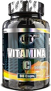 Vitamina C | Life Pro 500mg 90 Cápsulas | Suplemento nº1 en Vitamina C | Antioxidante y Refuerza el Sistema Inmunitario | Fortalece las