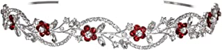 Bridal Flower Rhinestones Crystal Wedding Headband Tiara (Red Crystals Silver Plated)