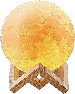 Abcsea novedad lámpara de luna 3d con 3 colores, cómodo lámpara de luna led 3d, Lámpara de luna romántica, 18 cm Luz de noche de romántico