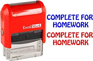Complete for Homework - ExcelMark Self-Inking Two-Color Rubber Teacher Stamp - Perfect for Grading Homework - Red and Blue Ink