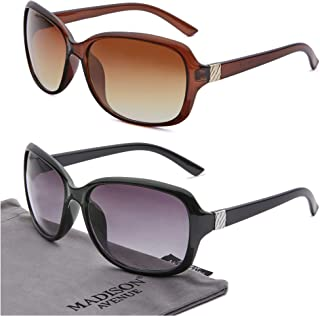 2 Pack Classic Vintage Sunglasses for Women, Fashion Sun...
