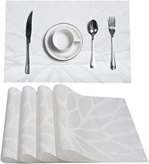 HEBE Placemats, Heat-Resistant Placemats Stain Resistant Anti-Skid Washable PVC Table Mats Woven Vinyl Place Mats, Set of ...