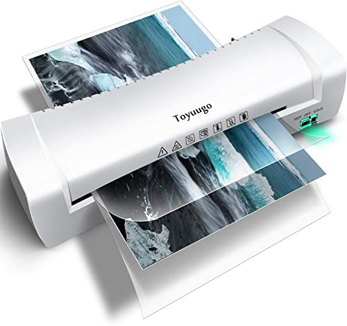 Toyuugo Laminator Machine, Portable A4 Thermal Laminating Machine with Hot and Cold Settings, Anti-JAM ABS Button Fas...