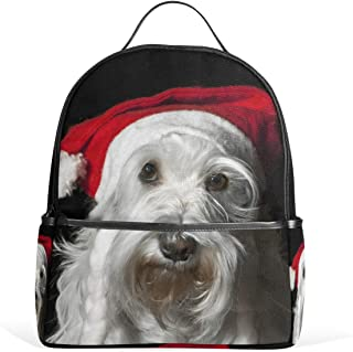 Mydaily Christmas Schnauzer Dog Backpack for Boys Girls School Bookbag