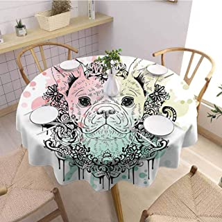 DILITECK Animal Restaurant Round Tablecloth French Bulldog with Floral Wreath on Brushstroke Watercolor Print Picnic D63 Mint Light Pink Pale Green