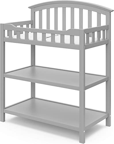 Graco Changing Table with Water-Resistant Change Pad and Safety Strap, Pebble Gray, Multi Storage Nursery Changing Ta...