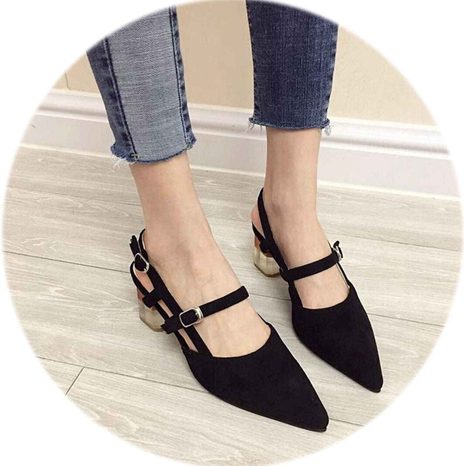 Gooding life Transparent Heel Women Pumps shoes Solid Flock Slingbacks Mules Women Sexy Pointed Toe High Heels