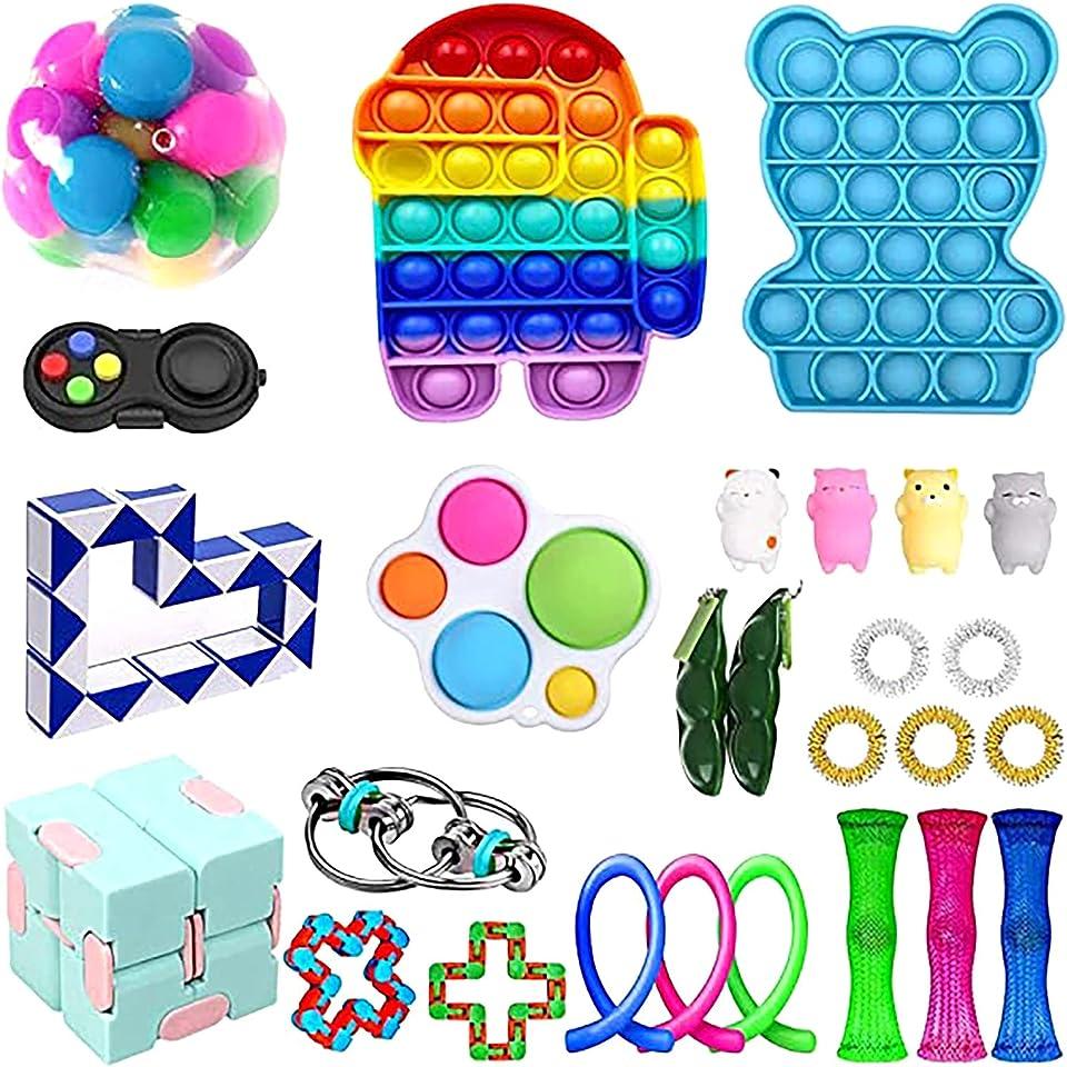 Sensorisches Fidget Toys Spielzeug Set für Autismus ADHS-Menschen, Anti Stress Push Pop it Bubble Simple Squeeze Toys Stressball für Kinder und Erwachsene Geschenk Figetttoys