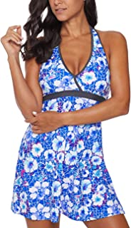 Eternatastic Women's Floral Printed Sporty Tankini Zip Up Swimsuits
