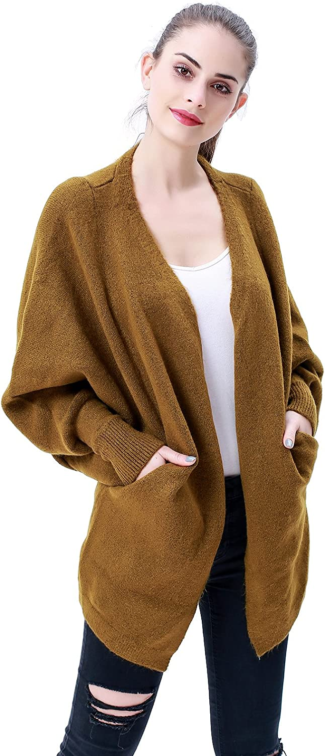 MEEFUR Women's Batwing Knit Cardigan Sweater Loose Fit Open Front VNeck Rib Cuff Knitwear Coat with Pockets