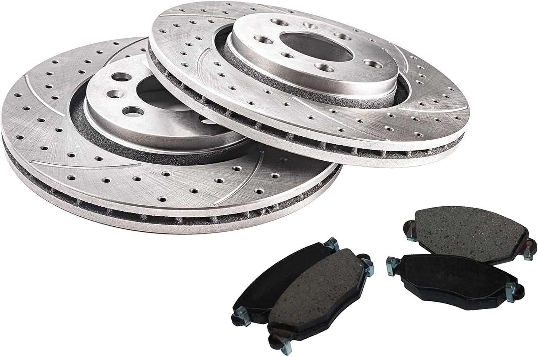 Discos de freno GT Sport + Pastillas compatibles con VW Sharan I Van 1995 1996 1997 1998 1999 2000 2001 2002 2003 2004 2005 2006 2007 2008 2009 Ventilado - 0722 9GV - Diámetro 288 mm - Agujeros 5