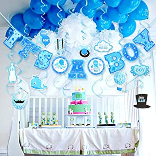 Baby Shower Decorations for Boy It's A BOY Baby Shower Decorations Hanging Banner for Baby Boy Shower Room Decoration Kit