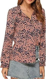 HebeTop Womens V Neck Leopard Casual Print Tunic Long Sleeve Button Down Shirt Tops