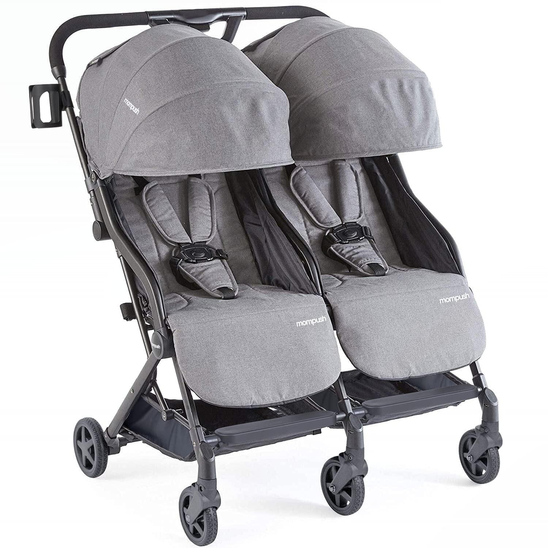 Mompush Ultra-Lightweight Double Strollers, Side by Side Stroller for Twins, Self-Standing Folding Design, Large Storage Basket (Black Gray)