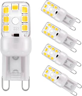 G9 LED Bulb Pathway Lights Dimmable 2W (20W Halogen Equivalent) Warm White 3000K G9 Base 2835 14LED Chandeliers Bathroom Ceiling Lights Energy Saving Bulbs AC120V (Pack of 5)