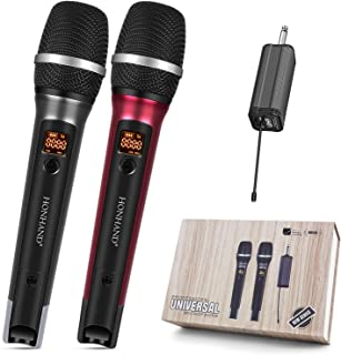 Wireless Microphone, UHF Dual Handheld Dynamic Mic System with Rechargeable Receiver, 160ft Range for Home Singing, Party,...