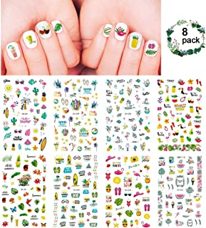 Hawaii Summer Nail Art Stickers Set 250+ Designs for Women Girls Kids, VIWIEU Tropical 3D Fake Nail Decals Self-Adhesive Flamingo Cactus Beach Fruits Palm Tree for Holiday Gift DIY Manicure 8 Pack
