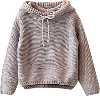 ❤Ywoow❤ 🍀 Toddler Kids Baby Girls Solid Hooded Sweater Knit Crochet Tops Clothes Outfits