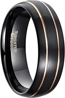 8mm Black Tungsten Ring for Men Blue/Rose Gold Thin Groove Line Dome Brushed Comfort Fit Size 7-13.5