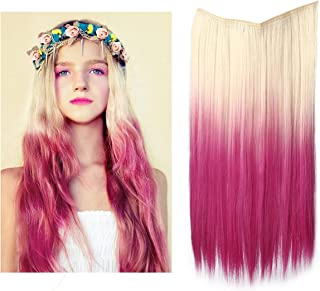 Straight Blonde Ombre Hair Extension Halo Long Wire Sercet Crown Synthetic Blonde to Pink Hairpieces For Women Invisible Heat Resistant Fiber 22
