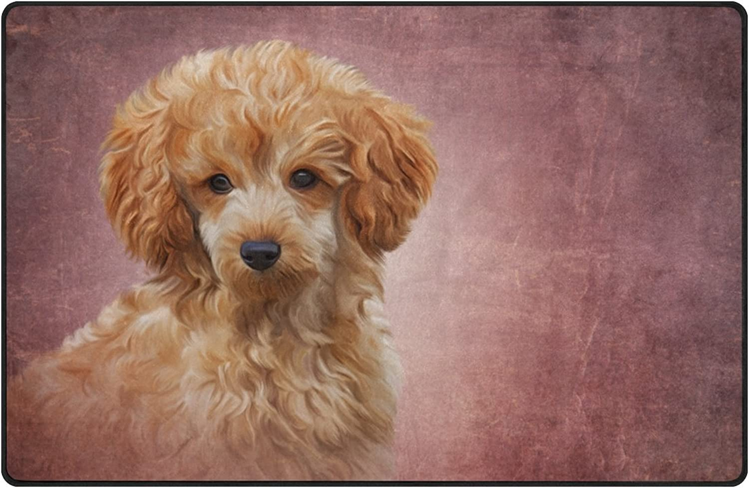 My Daily Toy Poodle Puppy Dog Area Rug 3'3  x 5', Living Room Bedroom Kitchen Decorative Lightweight Foam Printed Rug