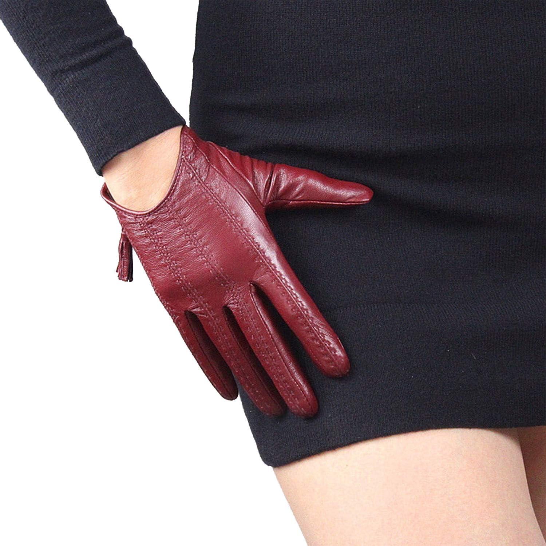 DooWay Short Touchscreen Real Leather Tech Gloves Imported Goatskin Tassel Zipper Pop Finger Gloves Adult Size-S