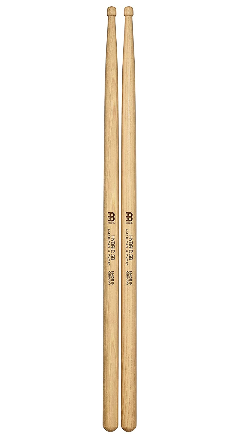 Meinl Stick & Brush Drumsticks, Hybrid 5B - American Hickory with Acorn/Barrel Shape Wood Tip - MADE IN GERMANY (SB107)