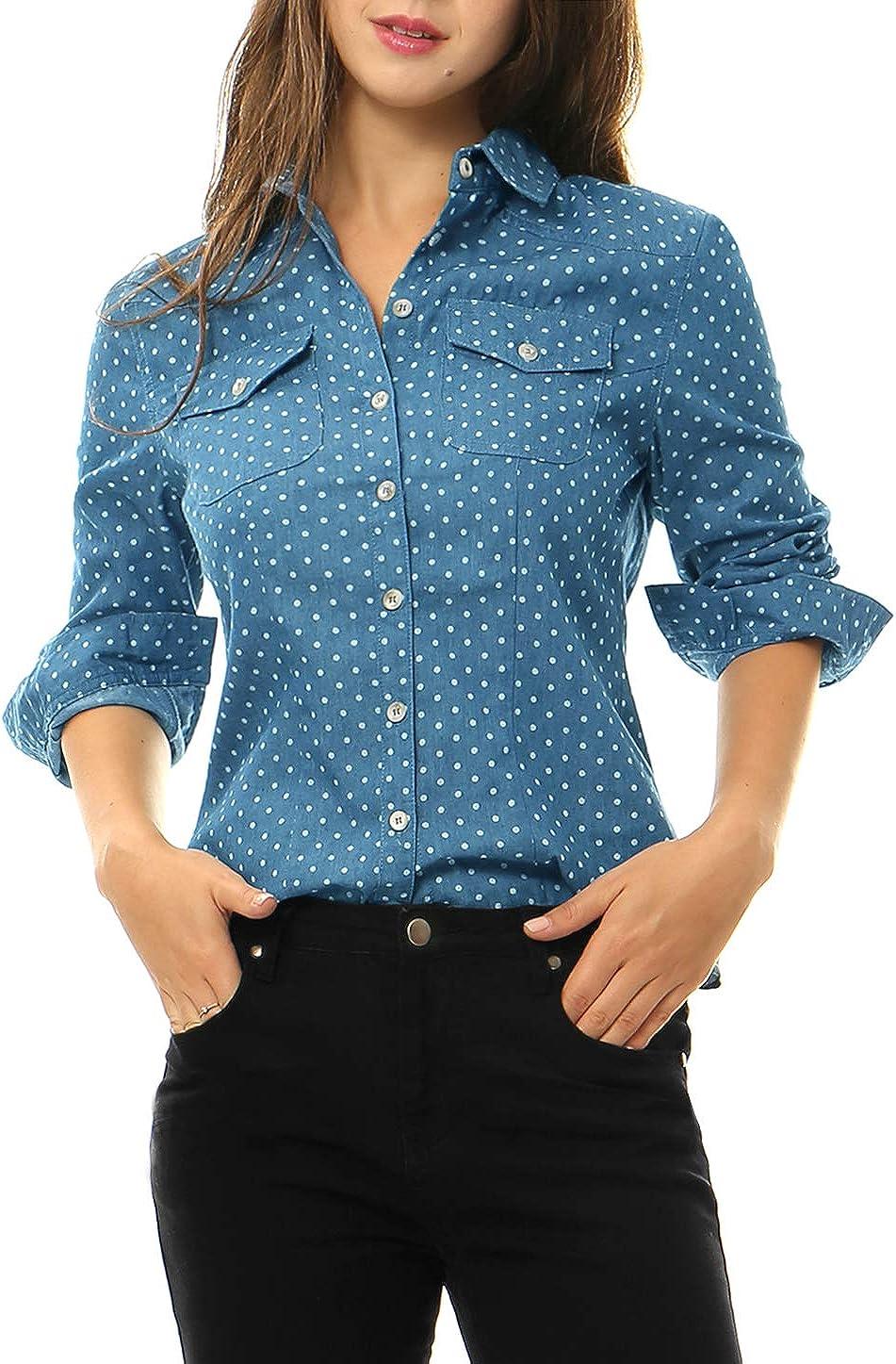Allegra K Women's Denim Long Sleeve Point Collar Chest Pockets Button Down Shirt
