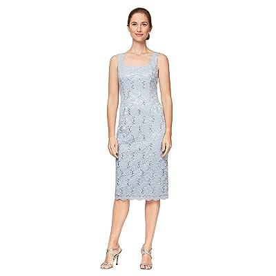 Alex Evenings Short Sequin Lace Shift Dress with Open Jacket (Hydrangea) Women