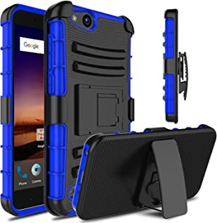 Venoro Compatible with ZTE Tempo X Case, ZTE Blade Vantage Case, Heavy Duty Full Body Protective Case Cover with Kickstand and Belt Swivel Clip Compatible with ZTE Avid 4 (Black/Blue)