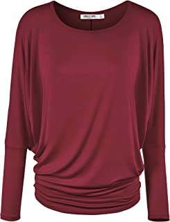 Lock and Love Women' s Flowy and Comfort Draped Long Sleeve Batwing Dolman top S-3XL Plus Size