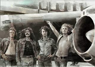 Led Zeppelin Classic Rock Band 3D Poster Wall Art Decor Print | 11.8 x 15.7 | Lenticular Posters & Pictures | Memorabilia Gifts for Guys & Girls Bedroom | Jimmy Page, Robert Plant, John Bonham Picture