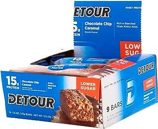 Detour Whey Barra de proteínas chocolate Chip Caramelo 9 barras 1 5 oz 43 g cada uno