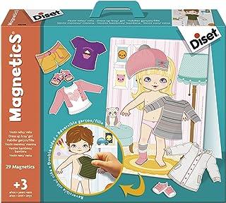 Diset - Magnetics vestir niño/niña, Juego educativo con piezas magneticas para niños a partir de 3 años