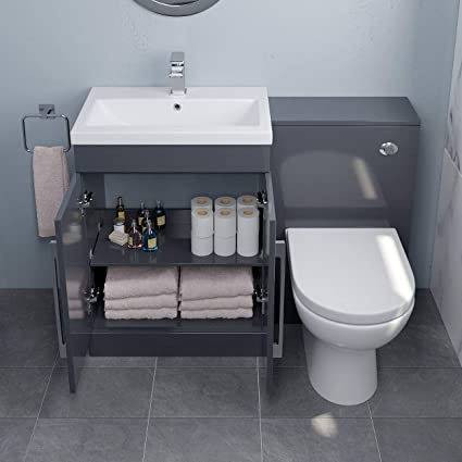 Aurora Bathroom Furniture 600mm Vanity Unit Basin Toilet Set Wc Modern Gloss Grey Amazon Co Uk Home Kitchen