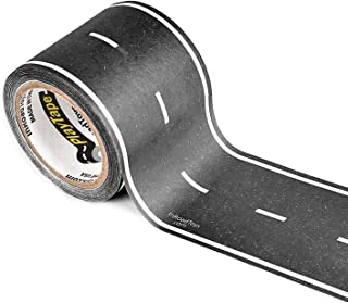 PlayTape Black Road - Road Car Tape Great for Kids, Sticker Roll for Cars Track and Train Sets, Stick to Floors and Walls, Quick Cleanup, Children Toys Birthday Gift (30'x2 - Single Roll, Black)