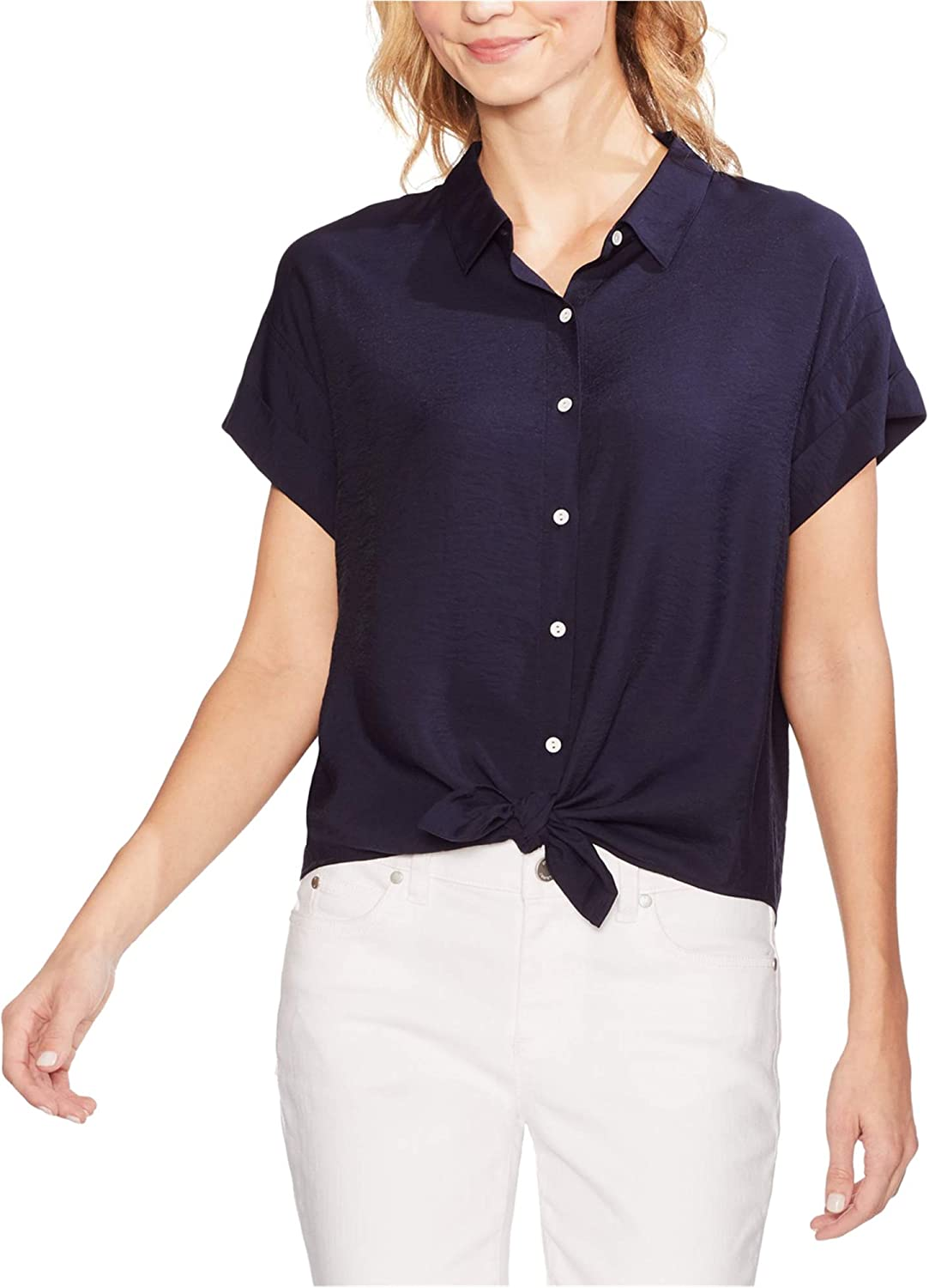Vince Camuto Womens Knot Front Button Down Blouse, Blue, Large