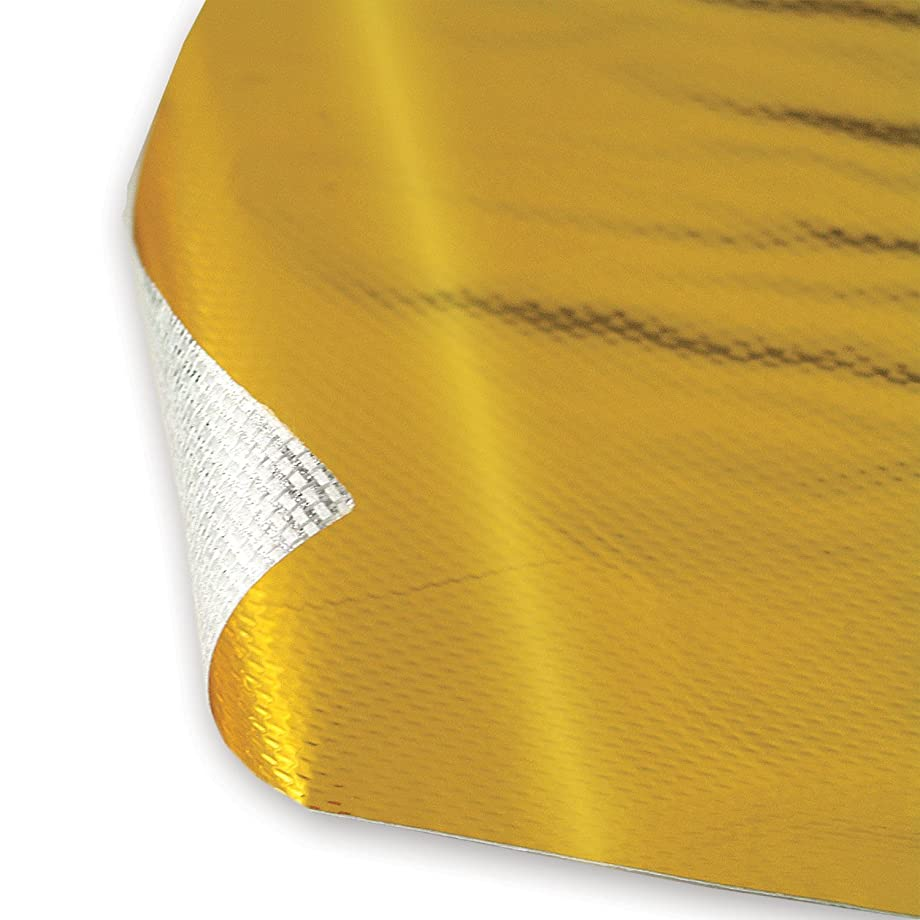 Design Engineering 010392 Reflect-A-GOLD High-Temperature Heat Reflective Adhesive Backed Sheet, 12