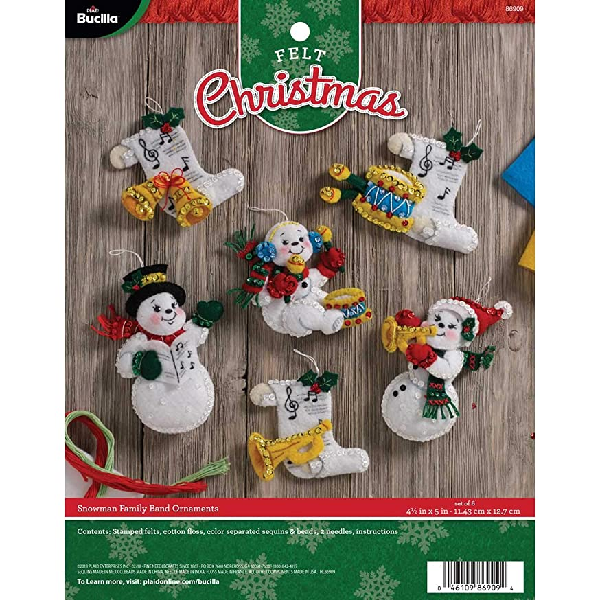 Bucilla 86909 Felt Applique Ornament Kit, 4.5