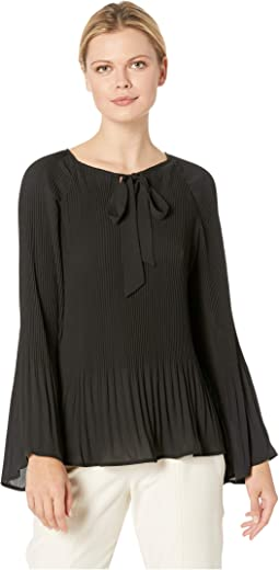 Ivanna Pleated Tie Neck Top