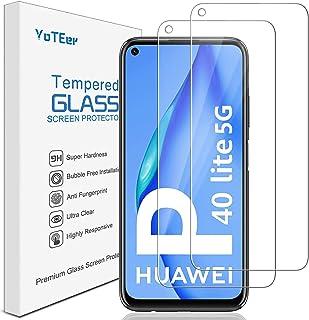YoTEer, 2-pack, Huawei P40 Lite 5G skärmskydd, härdat glas, Super HD, Snabbt svar, rundade kanter, fodralvänlig, skärmskyd...