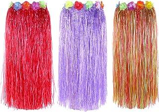 "Newcreativetop 32"" Adult's Flowered Luau Hula Skirts Pack of 3,Assorted Colors (RedPurpleRainbow)"