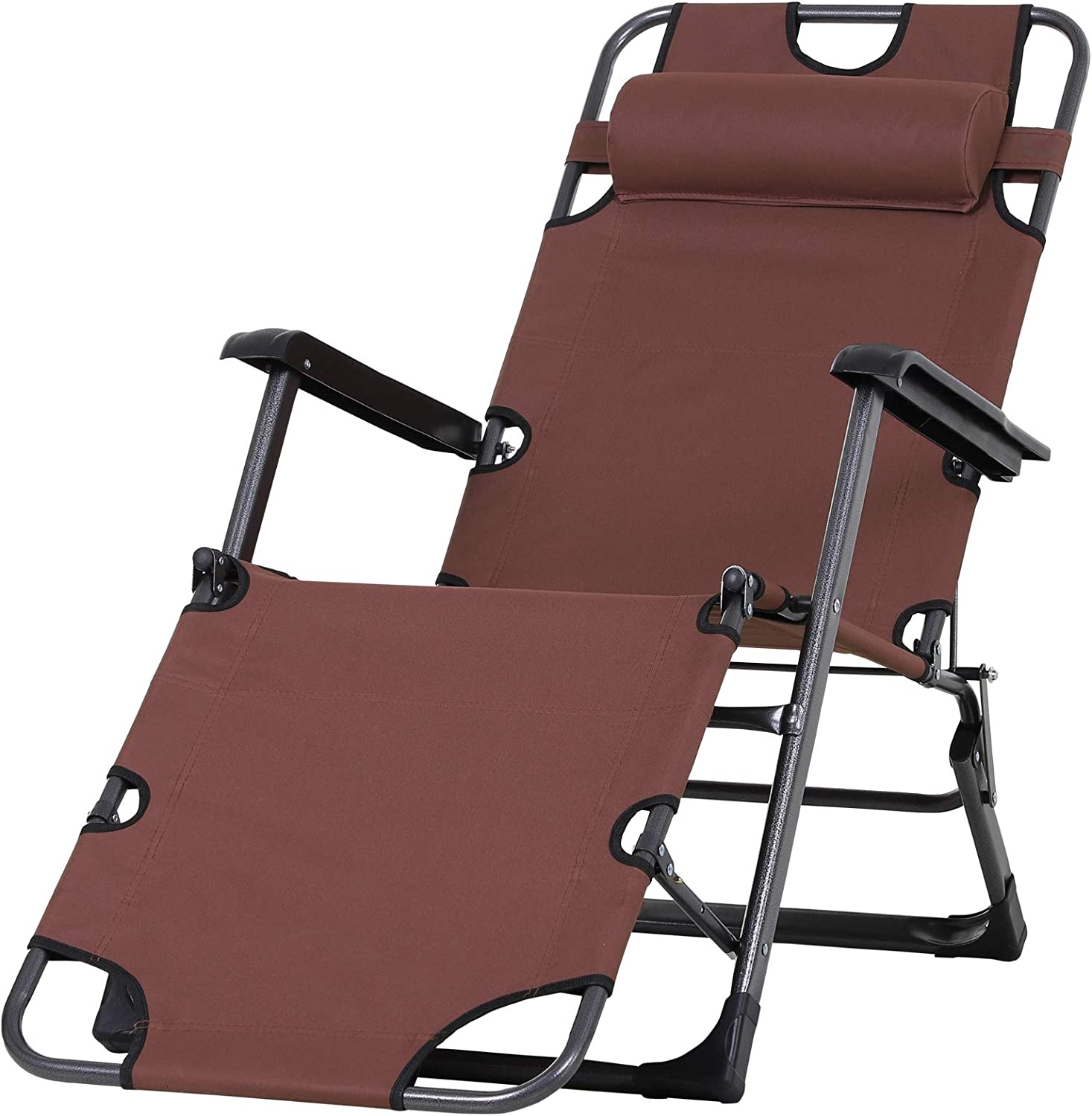 Outsunny New life Outdoor Folding Reclining Lounge Chairs Beach Same day shipping Oxf Patio