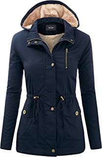 Women's Zip Up Safari Military Anorak Jacket with Hood Drawstring - Regular and Plus Sizes