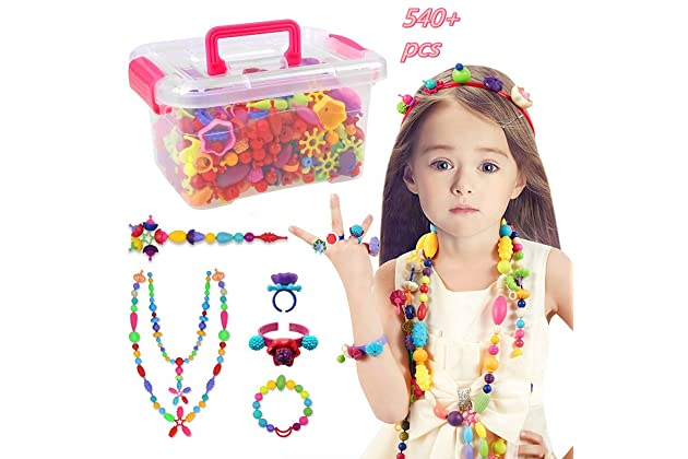 a562e94aa7fd9e Pop Beads Set - 540+ PCS Snap Together Beads for Girls Toddlers Creative  DIY Jewelry Set Toys-Making Necklace
